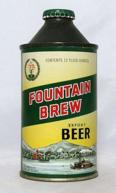 Scarce Fountain Brew Export Beer 12 oz Cone Top Beer Can Fountain City Wi | eBay