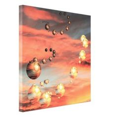 Orange wall art is the perfect type of fall wall art to use  in your home. In fact fall canvas art is  especially trendy this time of year.  Whether it be an orange wall clock, orange canvas art or even orange  wall hangings you will find something perfect to decorate your home for  #autumn.       Planets Abound Canvas Print