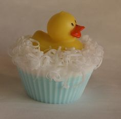 Sweetcake Ducky Soap. $20.00, via Etsy.   I know this is soap, but made me think wouldn't this be cute as a blue cupcake with coconut flakes for bubbles and a small rubber ducky decoration?  Also, cute as soap. :)
