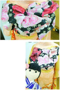優しい色の振袖。  帯、どうなっているのかな??お花みたいで可愛い~~。帯揚げもお花になっていて素敵!!