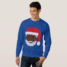 #black santa claus emoji xmas mens sweatshirt - #emoji #emojis #smiley #smilies