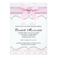 This custom baby shower invitation is perfect for an elegant, girly baby shower.  An intricate damask background features a subtle heart pattern.   A ribbon lines the top of the invitation for the perfect touch of class.   Available in any custom color, just contact us for product customization, at no additional cost.  This invitation is a high-quality printed image, it does not contain an actual ribbon.  To further customize the invitation, click the blue 'Customize It' button.