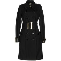 Burberry Overcoat ($2,200) ❤ liked on Polyvore featuring outerwear, coats, black, cotton trench coat, cotton coat, double breasted overcoat, burberry and trench coats
