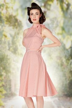 Vixen 50s Gingham Peach Swing Dress 102 29 15254 20150331 0008W2