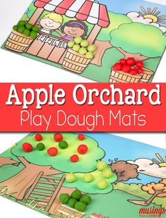 Celebrate fall and apple-picking season with these free printable Playdough Mats for kids. Young children will love this fun activity where they learn all about apples and practice fine-motor skills. Preschool Apple Theme, Fall Preschool, Preschool Themes, Preschool Printables, Preschool Apples, Preschool Apple Activities, Toddler Activities, Car Activities, Teach Preschool