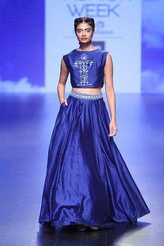 This indigo blue crop top skirt from Anita Dongre is a dream #LFW #LIFW2016 #summerfashion #Frugal2Fab