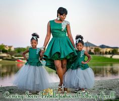 We absolutely love the emerald collection designed by a gorgeous mum of two, Abiola Anyebe. The mummy and me collection features Abiola and her two daughters in the exclusive unique… African Print Fashion, Africa Fashion, Tribal Fashion, African Fashion Dresses, Mother Daughter Matching Outfits, Mother Daughter Fashion, African Dresses For Kids, African Wedding Attire, Ankara Dress Styles