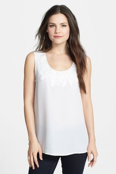 $50 NIC ZOE 'Poppy' Embroidered Neckline Top by NIC+ZOE on @nordstrom_rack