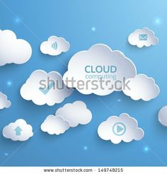 White paper clouds on a blue background. Cloud Computing. Social networks…