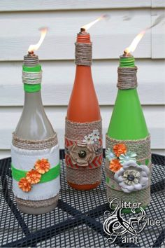 TABLE TORCHES- Turn your backyard into a festive paradise by making a much cuter version of the classic bug repellant.
