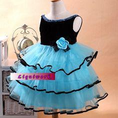 Blue Sleeveless Glitz National Pageant Party Tutu Dresses for Kids Girls  SKU-10501025
