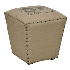 @Overstock.com - Julian Khaki Jute Cube Stool - The classic burlap fabric upholstery in a khaki color provides this stool with a chic, retro look. The Julian Jute Cube showcases a unique design that is sure to add a touch of sophistication to any interior space.  http://www.overstock.com/Home-Garden/Julian-Khaki-Jute-Cube-Stool/7660137/product.html?CID=214117 $125.99