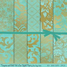 Turquoise and gold digital paper scrapbooking pattern gold foil  printable clipart background gift wrap wedding turquoise and gold party  12x12 inches and 8.5x11 inches, 300 dpi, jpegs, by Baer Design Studio