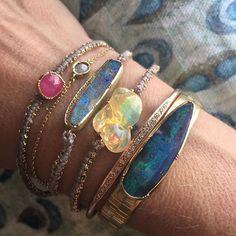 My Friday wrist . ✨ #textilesfinejewelry #opalheaven #sapphire #brookegregson #love