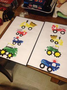 Perfect gifts for grandpa Vehicle baby feet art. Perfect gifts for grandpa Baby Crafts, Toddler Crafts, Crafts To Do, Crafts For Kids, Baby Feet Art, Baby Art, Craft Activities, Preschool Crafts, Toddler Activities