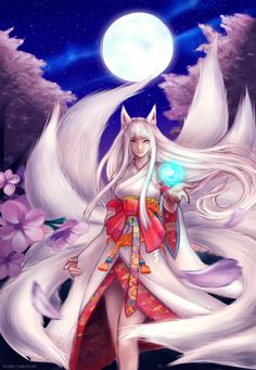 Enlightenment for us must be acheived nine times over...it is to be one with yourself, every part of that self, for which each tail represents. Only the calming radiant light of the moon can reflect and reveal the truth of every 1/9 of our inner being. This is the faith of our kin the kitsune, and something every queen must contemplate.