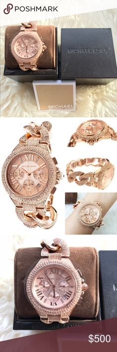 🆕 Michael Kors Rose Gold Camille Swarovski Watch VERY RARE to find!! BRAND NEW w Tags & Gift Box, Manual 💯100% AUTHENTIC  Michael Kors CAMILLE Glitz Twist Link -stainless steel + SWAROVSKI crystals. ROSE GOLD This watch is GLAM: dial with crystal-set index hour markers  ⭐️ALSO available in GOLD⭐️ * SWAROVSKI! Retail $550 + tax * MK3196 * Scratch resistant Sapphire Crystal  * Case diameter: 42mm * Band width: 22mm * Water resistant 50 m / 165 ft * Links can be removed at home! Snap on/off…