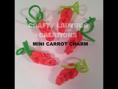 Rainbow Loom MINI CARROT CHARM. Designed and loomed by Crafty Ladybug. Click photo for YouTube tutorial.