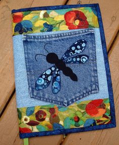 Blue Dragonfly Recycled Denim Quilted Jean Pocket Journal Cover by Back Pocket Design