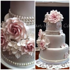 Vintage grey wedding cake with handmade roses and pearls ` all edible
