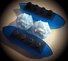 2 SETS 4 pcs Titanic Ship & Glacier Soaps  Wood by VeganSudzShop