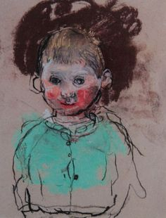 """Joan Eardley, """"Wee Boy with a Green Cardigan,"""" c.1961-63, pastel, 11 3/8 x 8 7/8 in, Private Collection"""