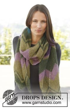 """Ondine by DROPS Design  """"Soft Kid-Silk, zigzag pattern and wonderful color combinations!""""  Knitted DROPS scarf with zigzag pattern in """"Kid-Silk"""". Free Pattern"""