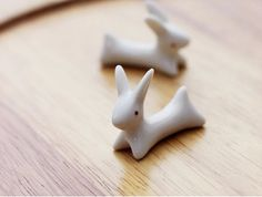 Handmade ceramic porcelain chopsticks rests running rabbit miniature doll house photography props on Etsy, $4.30