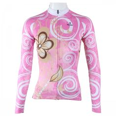 Flower Printed Pink Long Sleeve Cycling Jerseys For Girls image 1