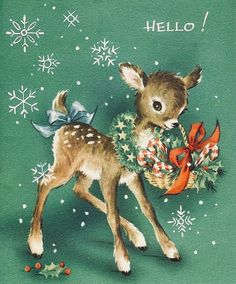 #retrochristmas, #christmasdeer, #babydeer, Vintage Christmas Card, Retro Christmas Card, #christmashello, #candycanes, #candycanecrazy, #candydelivery, #christmascandy