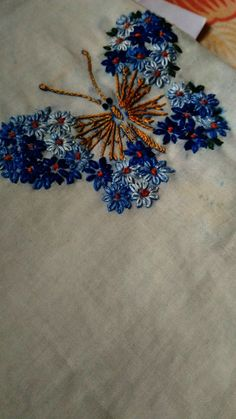 Easy hand embroidery lazy daisy stitching butterfly