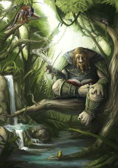 m Dwarf Druid lvl Mixed Forest Stream Lt Armor Cloak Pipe Weed story Wilderness med Character Creation, Character Art, Character Design, Wheel Of Times, Wheel Of Time Books, Fantasy Book Series, Dark Elf, Fantasy Warrior, Character Portraits