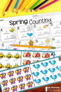 Spring Activities {Kindergarten Literacy and. by The Printable Princess Word Work Activities, Spring Activities, Kindergarten Activities, Kindergarten Classroom, Classroom Ideas, Counting Activities, Rainbow Card, Math Centers, Math Stations
