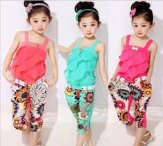Cheap clothes horse clothing, Buy Quality clothes dance directly from China clothes fork Suppliers: Children clothing set 2015 new girls tank top with metallic bowknot+floral print trousers kids girls clothes summer suit
