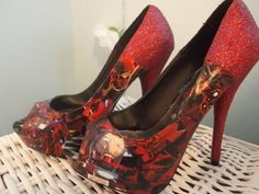 Iron Man Decoupage and Glitter High Heel Platform by KapowCouture