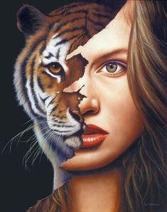 Mind Blowing Surreal Fine Art Paintings by Jim Warren Jim Warren is a U. self-taught artist best known for audio album and book cover artwork. Modern Surrealism, Surrealism Painting, Fantasy Paintings, Fantasy Art, Face Paintings, Jim Warren, Lion Tigre, Tiger Face, Top Artists