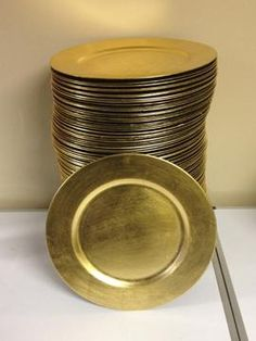 Gold and Silver Charger Plates for sale $1 each for sale at Bridal Garage Sales & Bulk Gold Plastic Charger Plates with Beaded Rims 13 in. at ...