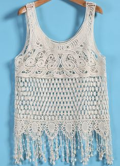 Shop White Sleeveless Hollow Tassel Vest online. Sheinside offers White Sleeveless Hollow Tassel Vest & more to fit your fashionable needs. Free Shipping Worldwide!