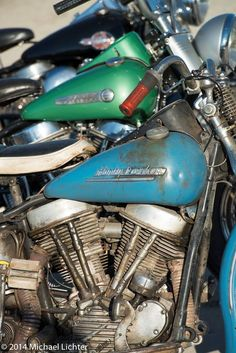 Love the look of old, rode hard bikes '48, '49, '50 Panheads from Daytona Bike Week