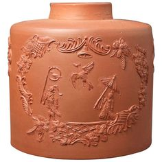 Antique English 18th Century Redware Pottery Tea Caddy Staffordshire | From a unique collection of antique and modern pottery at https://www.1stdibs.com/furniture/dining-entertaining/pottery/