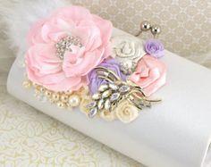 Sash Wedding Bridal Maid of Honor Purple Lilac Ivory by SolBijou