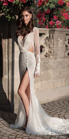 elihav sasson 2018 capsule bridal long sleeves v neck full embellishment high slit skirt sheath wedding dress open back chapel train (11) mv -- Elihav Sasson 2018 Royalty Girl Capsule Collection