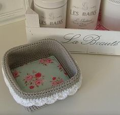 crochet a basket with fabric base tutorial