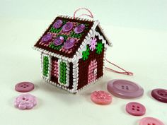 Needlepoint Gingerbread House Ornament by CraftyPod, via Flickr