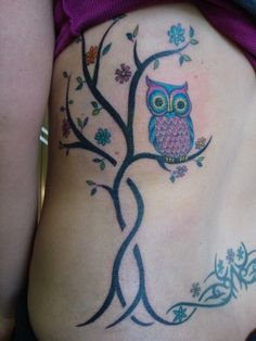 Owl and branch tattoo by GailzTattooz in Yellow Springs, OH.    Ever wonder what happens when a tattoo artist makes a mistake? How they learn their trade? Insider secrets?     Stop by my blog today and find out in my candid interview with Gail from Gailz Tattooz in Yellow Springs, OH!     http://sj-drum.blogspot.com/2012/08/tattoo-artist-interview-gail-from-gailz.html?showComment=1346423522696#c5322196753341189721