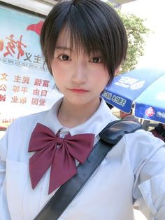 Asian Short Hair, Girl Short Hair, Short Girls, Asian Cute, Cute Asian Girls, Cute Girls, Cute School Uniforms, Beautiful Japanese Girl, Fair Lady