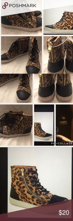 Faryl robin Amelia leopard print  hi top sneakers Has leopard print with black faux leather toes and heels . Has black lace up . Gold color hardware . Zipper on back and sides . Plan of foot is 31/4 inch wide . Sole measure toe to heel is 11 1/4 . Sole is 1 inch thick . faryl Robin Shoes Ankle Boots & Booties
