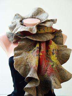 Sunflowers Nuno Felted pleasure scarf  made of wool merino &  wild silk Muga . Organic eco scarf Very soft and light. via Etsy