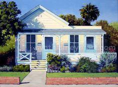 Cynthia Meyer A painting of an white wooden house San Luis Obispo