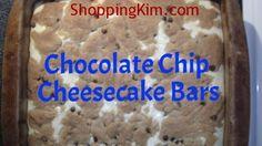 Easy & Delicious! Chocolate Chip Cheesecake Bars Recipe http://shoppingkim.com/chocolate-chip-cheesecake-bars-recipe/